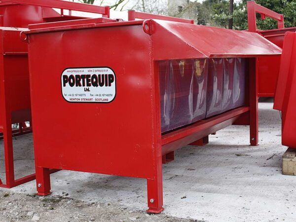PORTEQUIP BULL BEEF FEEDER DOUBLE SIDED 8' C/W BIRD PROTECTION KIT FITTED-0